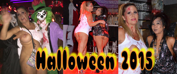 Naked girls at halloween party