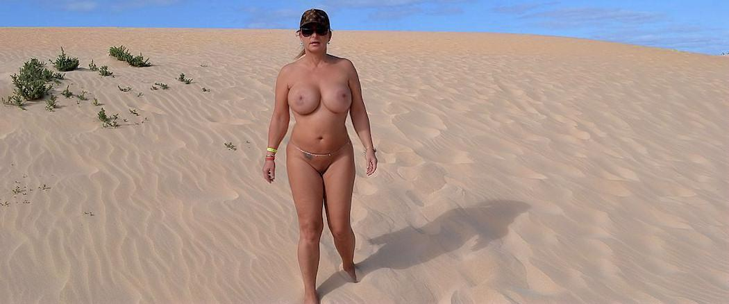 When she goes on holidays, she always choose a nudist-resort